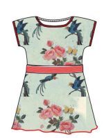 Baba-Babywear jurk rib Birds and roses