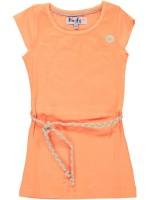 Oranje jurk van het merk Birds by D-Rak. De jurk heeft een kapmouwtje en een gevlochten riempje.