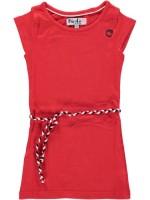 Rode jurk van het merk Birds by D-Rak. De jurk heeft een kapmouwtje en een gevlochten riempje.