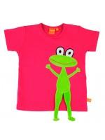 Hip roze t-shirt met velours kikker van het Zweedse merk Lipfish. De poten van de kikker hangen los aan het shirt zodat je ermee kunt spelen.