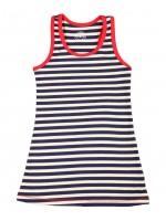 Blauw/wit gestreepte jurk met rode bies van het merk Claesens.