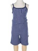 Jumpsuit met blauwe print van het Belgische merk Froy & Dind. De jumpsuit is gemaakt van biologisch katoen.