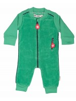 Groene badstof jumpsuit van het hippe merk Kik-Kid. De jumpsuit heeft een rits en bies in contrasterende kleur.