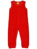 Gave rode velours jumpsuit zonder mouwen van het hippe merk Duns Sweden.  De jumpsuit is gemaakt van GOTS gecertificeerd biologisch katoen. Dat is wel zo prettig!