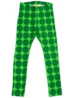 Hippe groene legging met donkergroene stippen van het hippe merk Duns Sweden.   De legging van Duns Sweden is gemaakt van 95% GOTS gecertificeerd biologisch katoen en 5% elastanen. Dat is wel zo prettig!