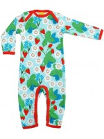 Lichtlauwe jumpsuit met aardbeien en bloemen het Zweedse merk Duns Sweden. De jumpsuit heeft een rode bies en is gemaakt van GOTS gecertificeerdbiologisch katoen.