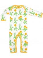 Off-white jumpsuit met paardebloemen van het Zweedse merk Duns Sweden. De jumpsuit heeft een gele bies en is gemaakt van 100% biologisch katoen.