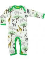 Jumpsuit met olifanten, giraffen en zebra's van het Zweedse merk Duns Sweden. De jumpsuit heeft een groene bies en is gemaakt van GOTS gecertificeerd bioogisch katoen.