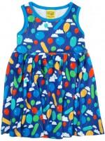 Blauwe jurk met ballonnen van het Zweedse merk Duns Sweden.