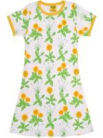 Off-white jurk met paardebloemen van het Zweedse merk Duns Sweden. De jurk heeft een gele bies en is gemaakt van 100% biologisch katoen.