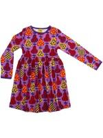 Paarse jurk met peren van het Zweedse merk Duns Sweden. De jurk is gemaakt van GOTS gecertificeerd biologisch katoen en heeft een donkerpaarse bies.