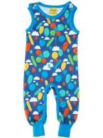 lauw jumpsuit zonder mouwen met ballonnenprint van het Zweedse merk Duns Sweden.