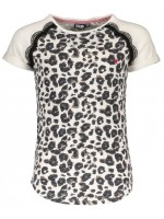 Like Flo animal slub sweat ss top with lace