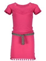 Like Flo slub frill lace dress Fuchsia