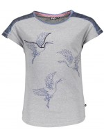 Like Flo fancy jersey metallic bird top chalk