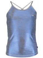 Like Flo blue metallic jersey singlet