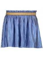 Like Flo blue metallic jersey plisse skirt