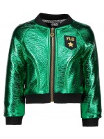 Like Flo green metalic baseball jacket