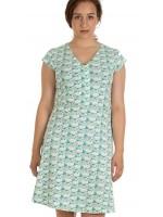 Jurk met zwanenprint van het Belgische merk Froy & Dind. De jurk is gemaakt van biologisch katoen.