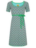 Blauwe jurk met retroprint van het hippe merk Halsoverkop.