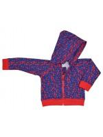 Hippe blauwe  hoodie met bolletjes van het Belgische merk Baba-Babywear. De hoodie is om de polsen en de middel geaccentueerd met rood elastiek en is van een sweat stof.  De kleding van Baba-Babywear is gemaakt van biologisch katoen.