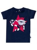 Donkerblauw t-shirt met Erik de viking als voetballer van het Deense merk Danefae.