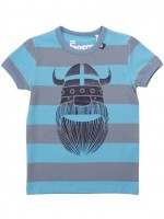 Grijsblauw/blauw gestreept t-shirt met Erik de viking van het Deense merk Danefae.