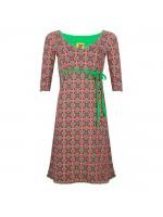 A-lijn jurk met groen/paars/rode retroprint van het hippe merk Halsoverkop.
