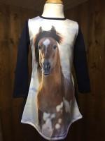Wooden Buttons jurk Subli paard bruin