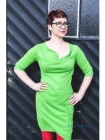Stijlvolle groene jurk van het hippe merk Isis, de grote zus van Kik-Kid. De jurk heeft een watervalnek.  De jurk is gemaakt van 100% knitted cotton.