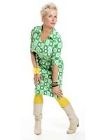Halsoverkop jurk bloemen groen