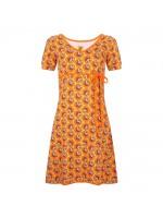 Geelgroene a-lijn jurk met roze/oranje/bruine rozen van het hippe merk Halsoverkop.