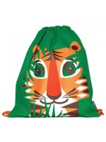 Groene gymtas met tijger  van het merk Coq & Pâte. De tijger is ontworpen door Mibo. Handig als gymtas of schooltas.   De tas is gemaakt van 100% biologisch katoen en is te wassen op 30C.  Maat: 33 X 36 cm