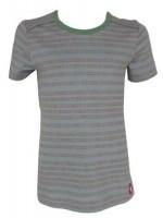 Blauwgrijs t-shirt met bruine stippeltjes strepen van het merk Kik-Kid.