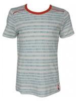 Off-white t-shirt met blauwe stippeltjes strepen van het merk Kik-Kid.