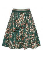 Groene rok met bloemenprint van het merk King Louie. De rok is gemaakt van biologisch katoen.