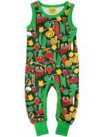 Dungaree met groenteprint van het Zweedse merk Duns Sweden.