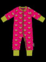 Roze zipsuit met vogeltjes van het Zweedse merk Maxomorra. De jumpsuits sluit met een rits en heeft een groene bies.  De jumpsuit is gemaakt van GOTS gecertificeerd biologisch katoen.