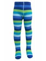 Vrolijk blauw/turquoise/groen gestreepte maillot van het Deense merk Melton..De maillot is gemaakt van 80% katoen, 15% polyamide en 5% elastane.