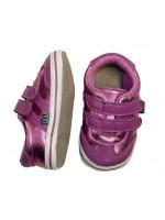 Melton slofjes klittenband roze/metallic roze