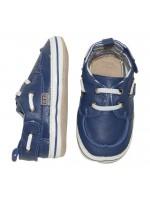 Hippe donderblauwe slofjes (bootschoentjes) van het Deense merk Melton.