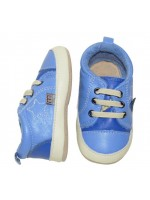 Gave blauwe leren babyslofjes met nep veters van elastiek van Deense merk Melton.
