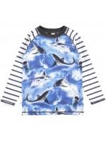 Longsleeve met haaien van het Deense merk Molo. Het shirt heeft gestreepte mouwen en is gemaakt van Oekotex gecertificeerd katoen.