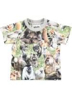 T-shirt met harige beesten van het Deense merk Molo.   Het t-shirt is gemaakt van Oekotex gecertificeerd katoen.