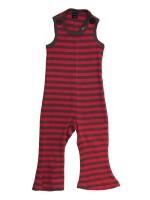 Gave bruin/ rood gestreepte jumpsuit met uitlopende pijpjes van het Zweedse merk Moonkids. Heerlijk retro!