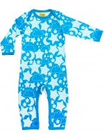 Blauwe jumpsuit met strerren van het Zweedse merk More Than a Fling.