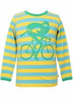 Toffe yellow/pool blue gestreepts longsleeve met Erik de viking op een fiets van het Deense merk Danefae.  De kinderkleding van Danefae is Oekotex gecertificeerd en dus vrij van schadelijke stoffen.