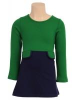 Petit Louie jurk zakjes navy/groen