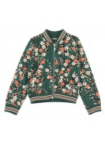 Groen vest met bloemenprint van het merk Petit Louie. Het vest is gemaakt van biologisch katoen.
