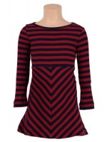 Petit Louie Skater dress rib stripe cherry